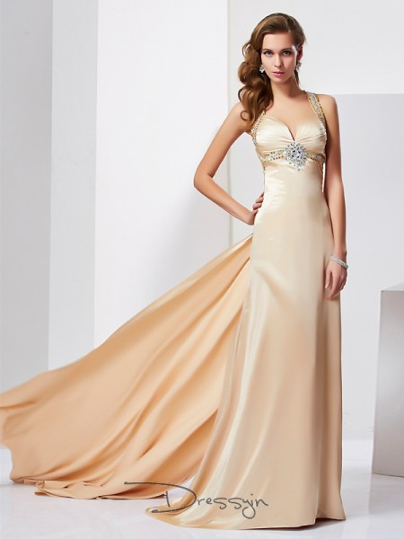 Sheath/Column Halter Ruffles Sleeveless Silk like Satin Long Dresses