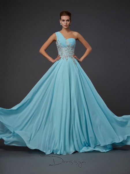 A-Line/Princess One-Shoulder Ruffles Sleeveless Chiffon Long Dresses