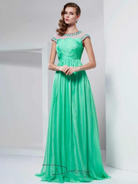 A-Line/Princess High Neck Ruffles Beading Short Sleeves Chiffon Long Dresses