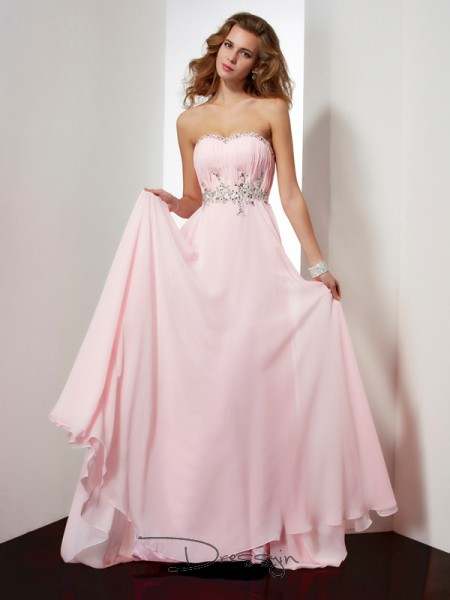 A-Line/Princess Sweetheart Beading Applique Sleeveless Chiffon Long Dresses