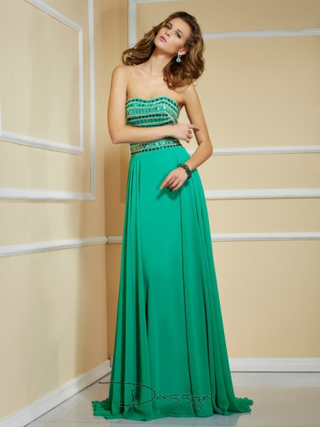 A-Line/Princess Strapless Rhinestone Sleeveless Chiffon Long Dresses