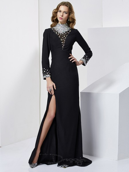 Sheath/Column High Neck Rhinestone Long Sleeves Chiffon Long Dresses