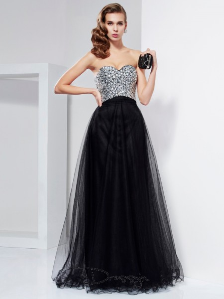 A-Line/Princess Sweetheart Beading Crystal Sleeveless Elastic Woven Satin Long Dresses