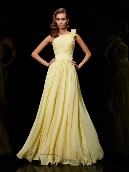 A-Line/Princess One-Shoulder Hand-Made Flower Sleeveless Chiffon Long Bridesmaid Dresses