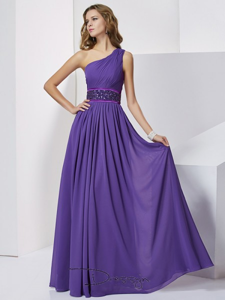 Empire One-Shoulder Beading Sleeveless Chiffon Long Dresses