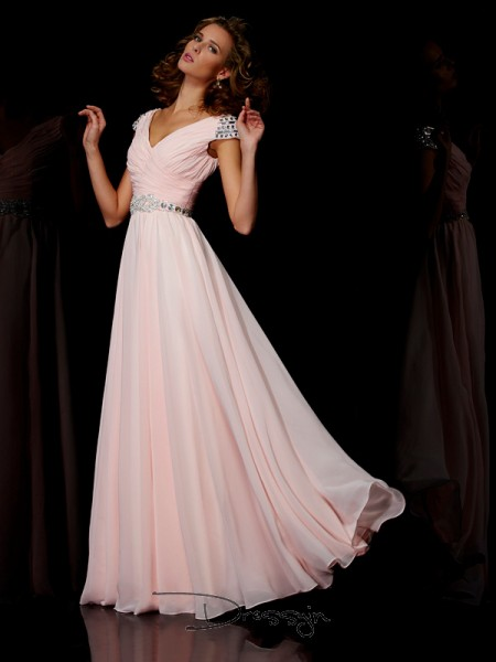 A-Line/Princess V-neck Ruffles Short Sleeves Chiffon Long Dresses