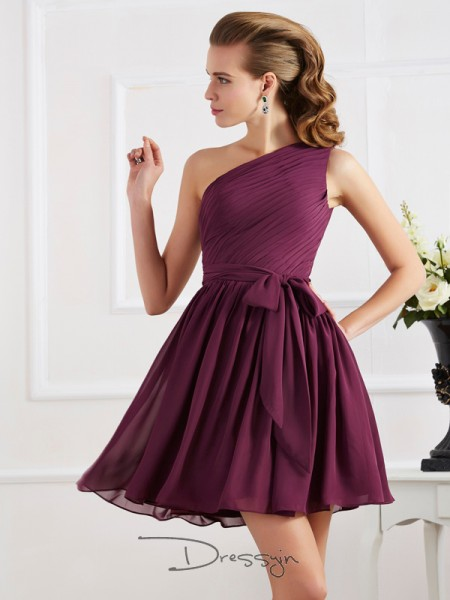 A-Line/Princess One-Shoulder Pleats Sleeveless Chiffon Short Dresses