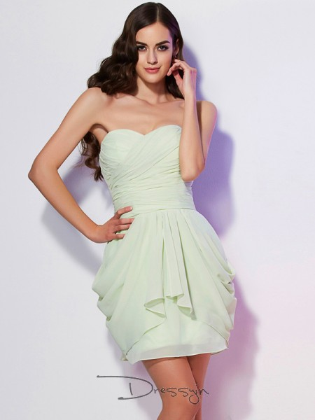 A-Line/Princess Sweetheart Pleats Sleeveless Chiffon Short Dresses