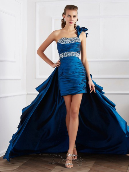 A-Line/Princess One-Shoulder Beading Sleeveless Taffeta High Low Dresses