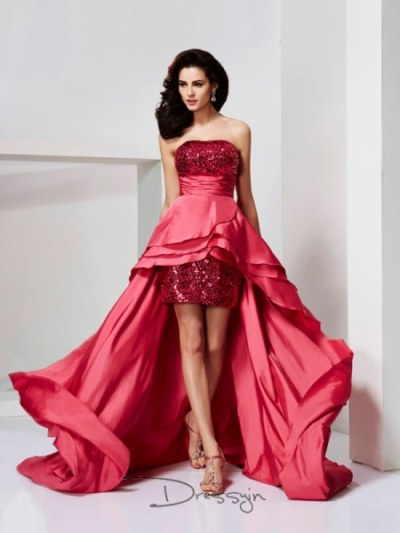 A-Line/Princess Strapless Lace Paillette Sleeveless Taffeta High Low Dresses