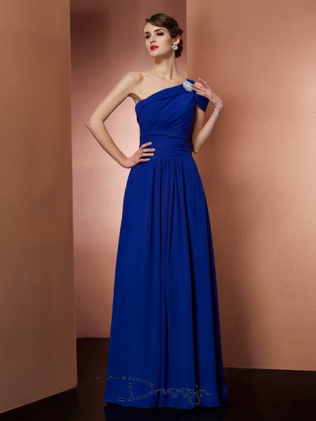 A-Line/Princess One-Shoulder Pleats Sleeveless Chiffon Long Dresses