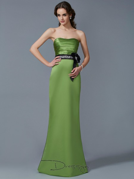 Sheath/Column Strapless Sash/Ribbon/Belt Sleeveless Satin Long Dresses