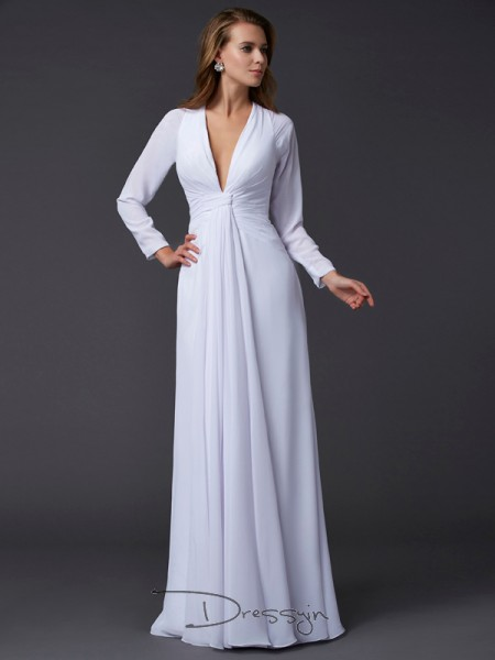 Sheath/Column V-neck Ruched Long Sleeves Chiffon Long Dresses