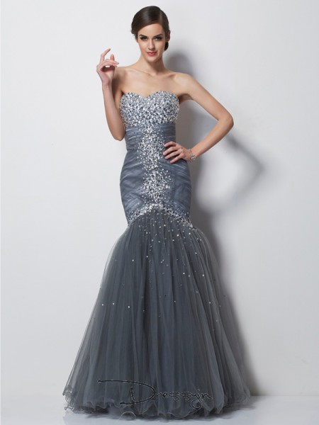 Trumpet/Mermaid Sweetheart Beading Sleeveless Net Satin Long Dresses