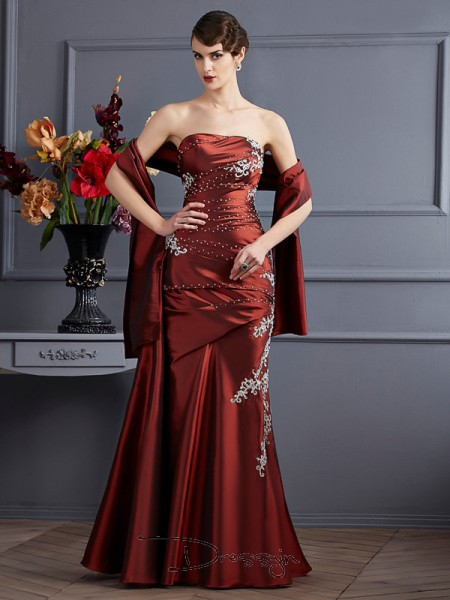 Sheath/Column Strapless Beading Applique Sleeveless Taffeta Long Dresses