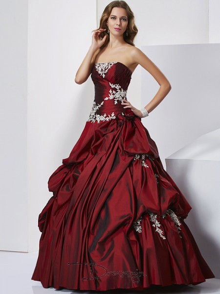 Ball Gown Sweetheart Beading Sleeveless Taffeta Long Dresses