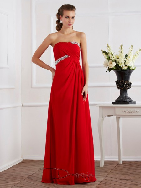 Sheath/Column Strapless Beading Sleeveless Chiffon Long Dresses