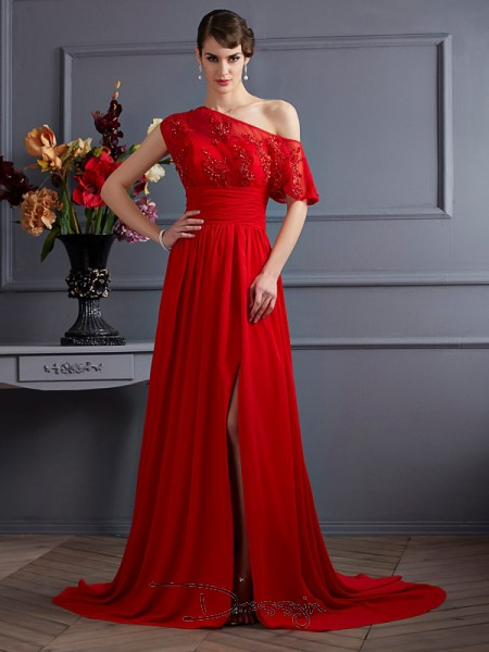 A-Line/Princess One-Shoulder Applique Sleeveless Chiffon Court Train Dresses