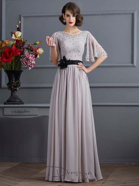 A-Line/Princess High Neck Beading 1/2 Sleeves Chiffon Long Dresses