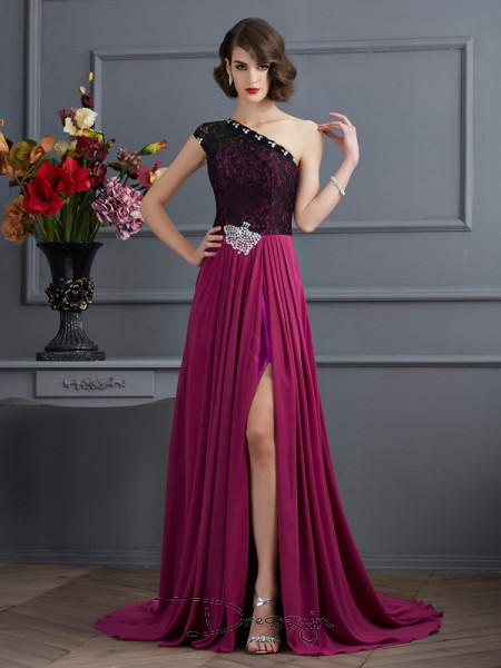 A-Line/Princess One-Shoulder Lace Sleeveless Chiffon Long Dresses