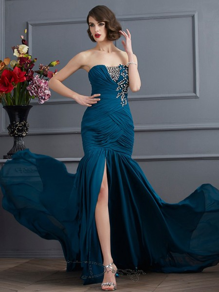 Trumpet/Mermaid Strapless Beading Applique Sleeveless Chiffon Long Dresses
