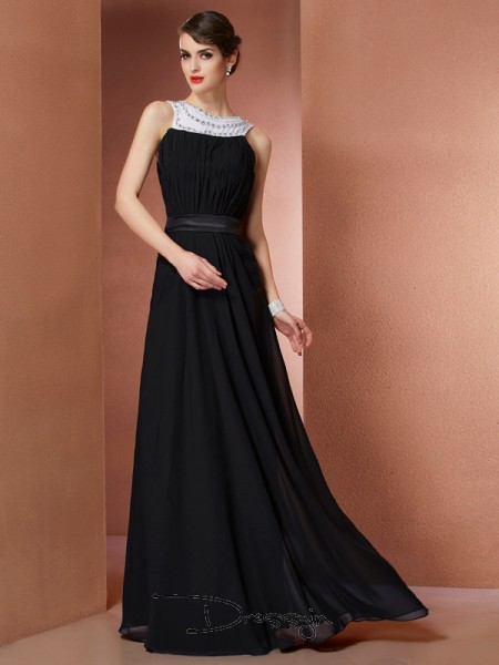 Sheath/Column Scoop Beading Sleeveless Chiffon Long Dresses