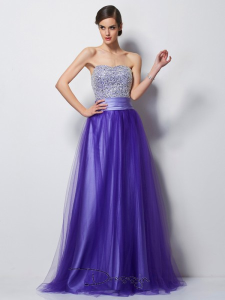 A-Line/Princess Sweetheart Beading Sleeveless Net Satin Long Dresses