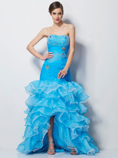 Trumpet/Mermaid Sweetheart Beading Sleeveless Tulle High Low Dresses