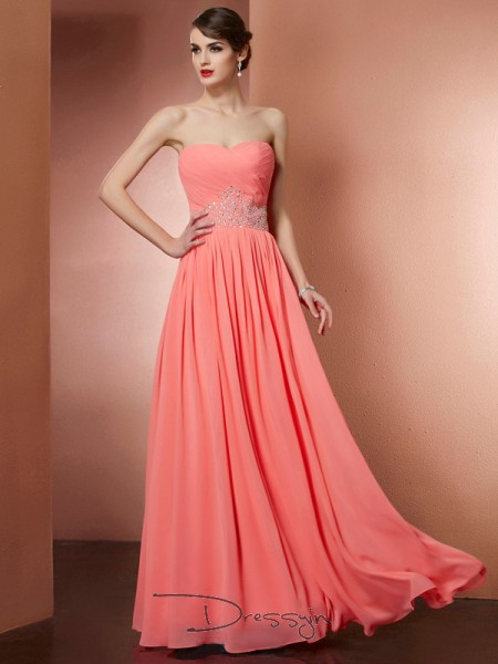 A-Line/Princess Strapless Pleats Beading Sleeveless Chiffon Long Dresses
