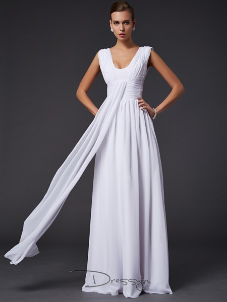 A-Line/Princess Jewel Pleats Sleeveless Chiffon Long Dresses