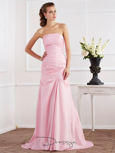Trumpet/Mermaid Strapless Beading Sleeveless Taffeta Long Dresses