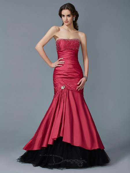 Trumpet/Mermaid Strapless Beading Sleeveless Taffeta Net Long Dresses