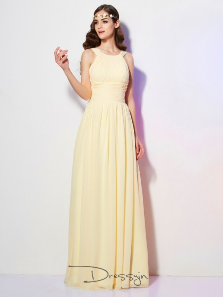 A-Line/Princess Bateau Pleats Sleeveless Chiffon Long Dresses