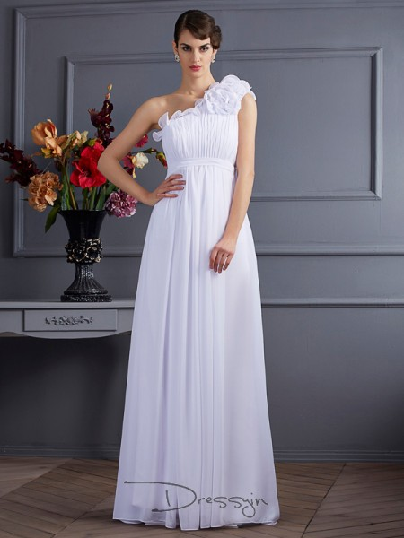 A-Line/Princess One-Shoulder Pleats Applique Sleeveless Chiffon Long Dresses