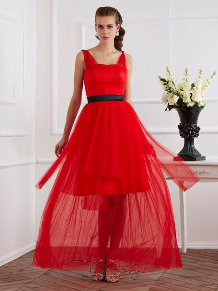 A-Line/Princess Straps Pleats Sleeveless Elastic Woven Satin Ankle-Length Dresses