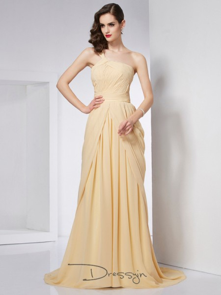 A-Line/Princess One-Shoulder Pleats Sleeveless Chiffon Chapel Train Dresses