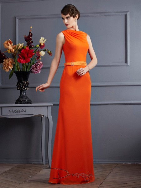 Sheath/Column High Neck Sash/Ribbon/Belt Sleeveless Chiffon Long Dresses