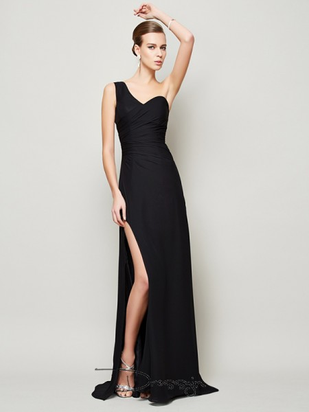 Sheath/Column One-Shoulder Pleats Sleeveless Chiffon Long Dresses