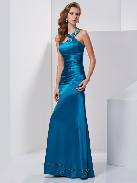 Sheath/Column Straps Beading Sleeveless Silk like Satin Long Dresses
