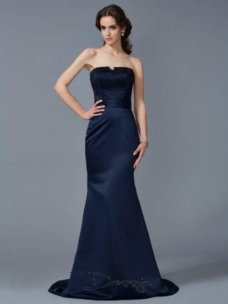 Trumpet/Mermaid Strapless Beading Sleeveless Satin Long Dresses