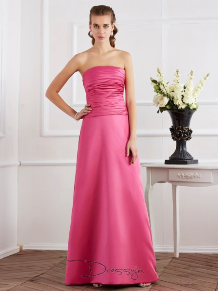 Sheath/Column Strapless Pleats Sleeveless Satin Long Dresses