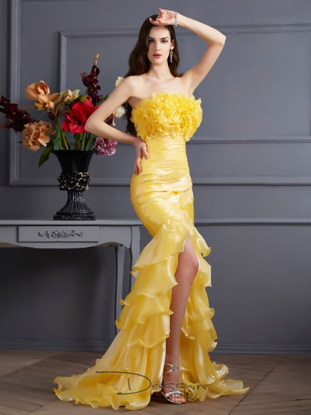 Trumpet/Mermaid Strapless Ruffles Sleeveless Tulle Long Dresses