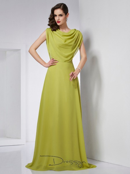A-Line/Princess High Neck Pleats Sleeveless Chiffon Long Dresses