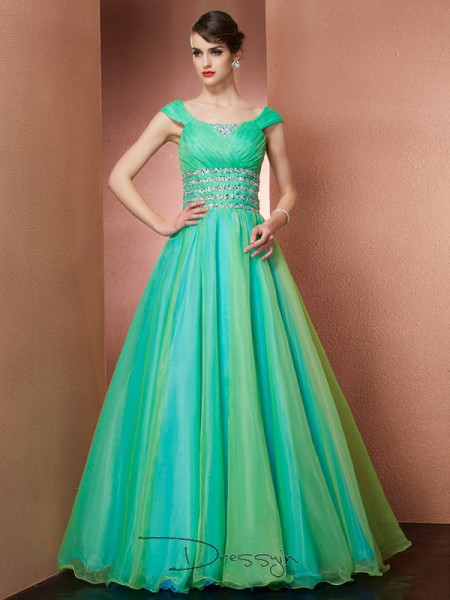 Ball Gown Off-the-Shoulder Beading Sleeveless Satin Long Dresses