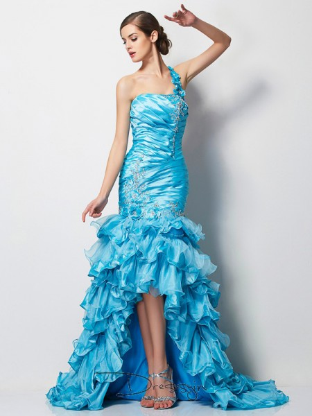 Trumpet/Mermaid One-Shoulder Beading Sleeveless Taffeta High Low Dresses