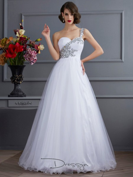 Ball Gown One-Shoulder Beading Applique Sleeveless Elastic Woven Satin Long Dresses