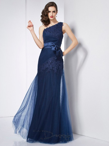 A-Line/Princess One-Shoulder Applique Sleeveless Net Organza Satin Long Dresses