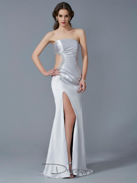 Trumpet/Mermaid Strapless Beading Sleeveless Elastic Woven Satin Long Dresses