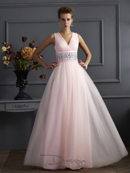 Ball Gown V-neck Beading Sleeveless Net Long Dresses