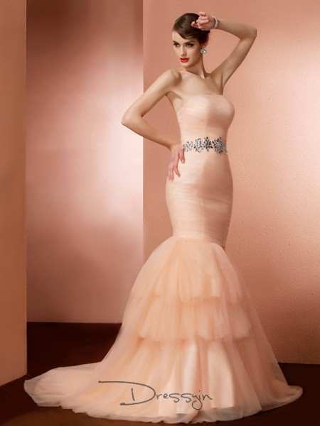 Trumpet/Mermaid Strapless Beading Sleeveless Net Long Dresses